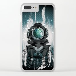 Deep Space Diver Clear iPhone Case