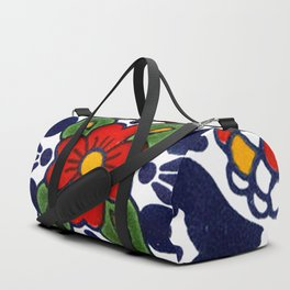 talavera mexican tile in blu Duffle Bag