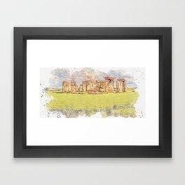 Stonehenge watercolor by Ahmet Asar Framed Art Print