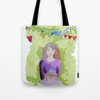 happy birthday Tote Bags featuring Happy birthday! by Oh Lapislazuli