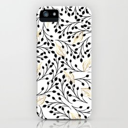 Modern hand painted watercolor black gold floral iPhone Case