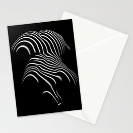 0721-AR Nude Female Naked BBW Geometric Black White Naked Body Abstracted Sensual Sexy Erotic Art Stationery Cards