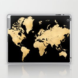 Sleek black and gold world map Laptop & iPad Skin