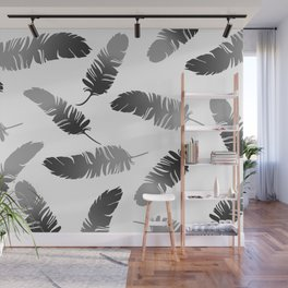 Feather Design black and white Wall Mural