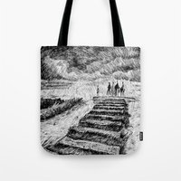 ink Tote Bags featuring Storm - Ink by Nicolas Jolly
