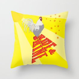 Morning Rooster Rise and Shine Typography Illustrated Print Throw Pillow