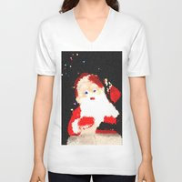 santa V-neck T-shirts featuring Santa  by Isa Fett