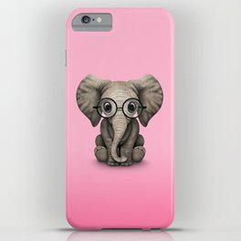 Cute Baby Elephant Calf with Reading Glasses on Pink iPhone Case