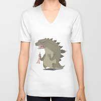 godzilla V-neck T-shirts featuring Godzilla by Rod Perich