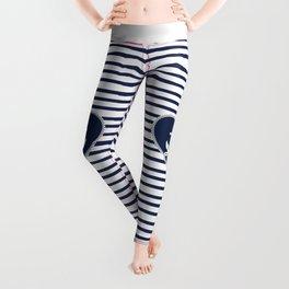 Modern navy blue white heart anchor nautical stripes Leggings