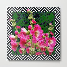 Fuchsia Pink Rose Color Holly Hocks Pattern Floral Art Metal Print