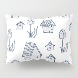 Bird House Drawings, Pattern Pillow Sham