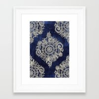 green pattern Framed Art Prints featuring Cream Floral Moroccan Pattern on Deep Indigo Ink by micklyn
