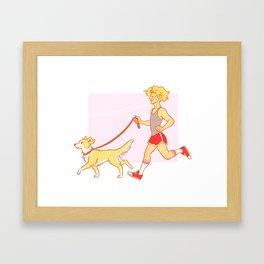 Dog Walking Enj Framed Art Print