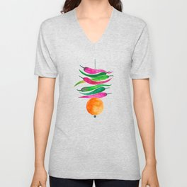 Lemon Chilli Charm - Magenta and orange palette Unisex V-Neck
