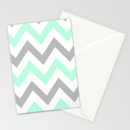 MINT & GRAY CHEVRON Stationery Cards