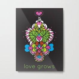 LOVE grows heart tree temple Metal Print