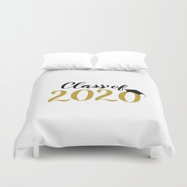 Class of 2020 lettering with graduation hat. Congratulations to graduates.  Duvet Cover