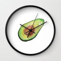 avocado Wall Clocks featuring Avocado by Binkfloyd