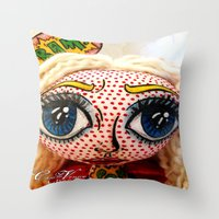supergirl Throw Pillows featuring Supergirl by Chiara Venice Art Dolls