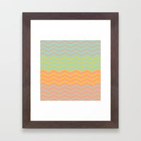 Colorful Chevron on Peach and Mint Framed Art Print