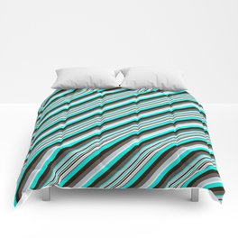Blue Brown Black Inclined Stripes Comforters