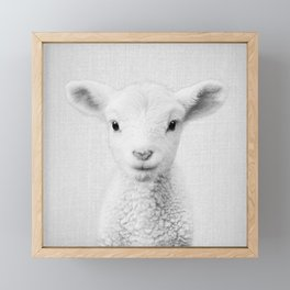 Lamb - Black & White Framed Mini Art Print