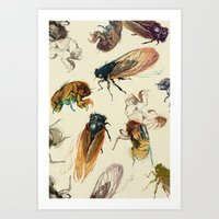 rug Art Prints featuring summer cicadas by Teagan White