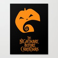 nightmare before christmas Canvas Prints featuring The Nightmare before Christmas by Citron Vert