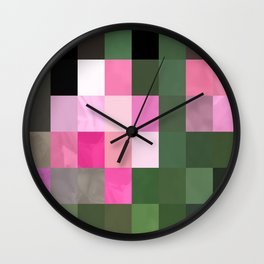 Pink Roses in Anzures 1 Abstract Rectangles 3 Wall Clock