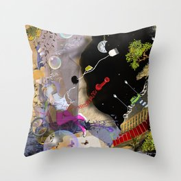 beautiful woman floating among abstract objects, raster illustration Throw Pillow