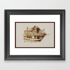 Moored at the Fish House Framed Art Print