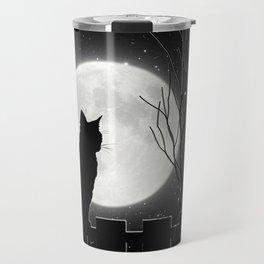 Silent Night Cat and full moon Travel Mug