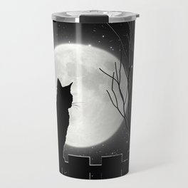 Silent Night Cat and full moon Travel Mug