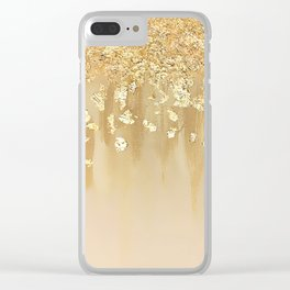 Beige and Gold Leaf Clear iPhone Case