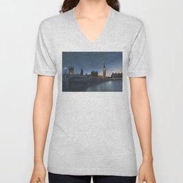 The Palace of Westminster London Oil on Canvas Unisex V-Neck