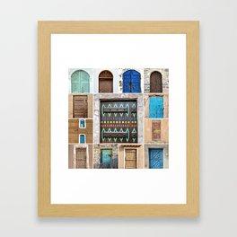 Saudi Doors Square Collage Framed Art Print