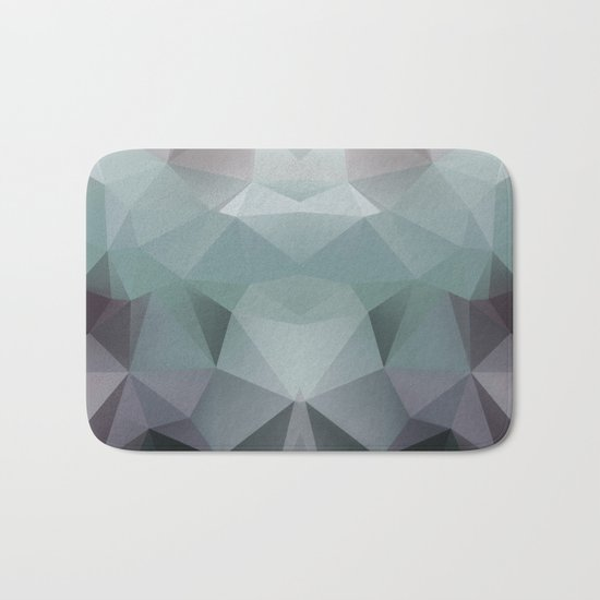 Abstract geometric polygonal pattern in grey and green tones . Bath Mat
