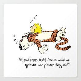 Calvin And Hobbes Sleep Art Print