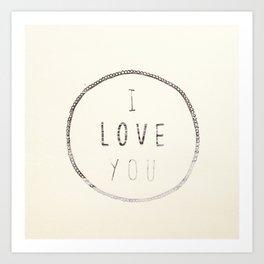 I love You (Water) Art Print