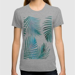 Green Palm Leaves on Light Pink T-shirt