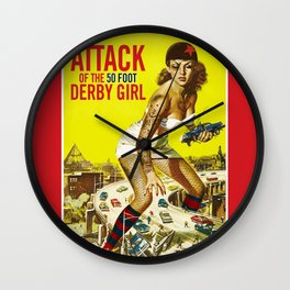 Attack of the 50 Foot Derby Girl Wall Clock