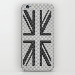 UK Flag Union Jack in Carbon Fiber White with Black iPhone Skin