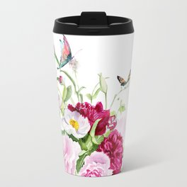 flowers with butterflies Travel Mug