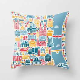 Cologne City Map Poster Throw Pillow