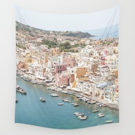Procida Island Landscape Photo   Pastel Color Village Houses In Italy Art Print   Coastal Travel Photography Wall Tapestry