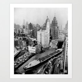 Largest travel Chicago River Chicago Illinois Art Print