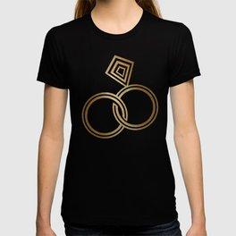 Romantic Gold Wedding Rings T-shirt