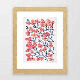 Cherry Blossoms – Melon & Navy Palette Framed Art Print