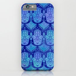 Hamsa Hand Pattern Blue watercolor iPhone Case